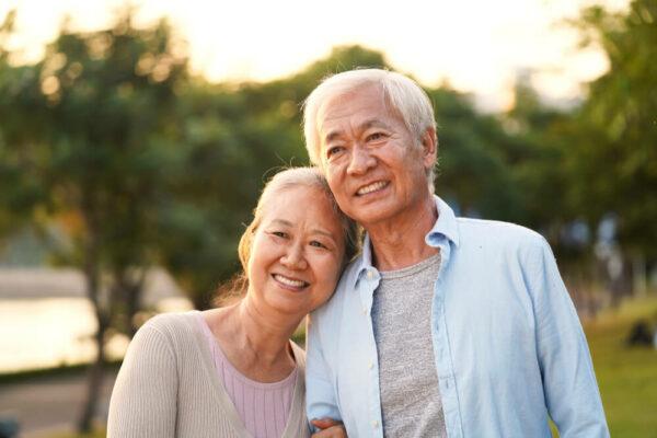 mature couple at sunset